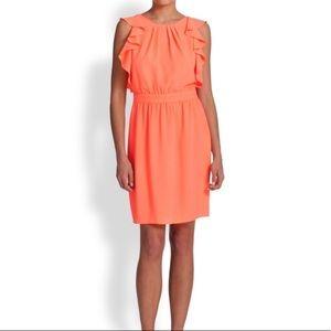 Shoshanna Katrina Blouson Flutter Ruffle Dress - Coral Orange - 4